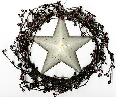 "Rustic 8"" Twig burgundy Pip BERRY swag WREATH metal 5.5"" white STAR garland Sign"
