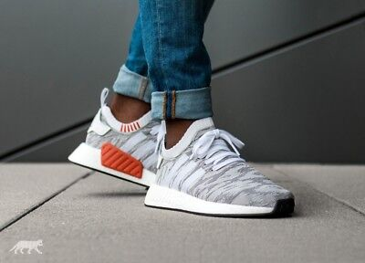 low priced 4263e 38aaa MENS ADIDAS NMD R2 Primeknit Sneakers New, Gray White BY9410 sz 7.5