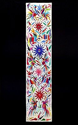 Beautiful Otomi Embroidery. Table Runner From Tenango De Doria. Mexican Folk Art