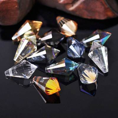 10pcs 11x20mm Teardrop Cone Faceted Crystal Glass Loose Craft Beads Pendants