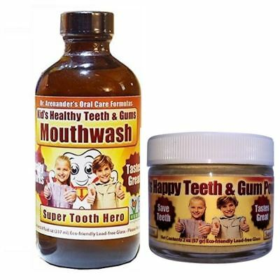 Kids Organic Teeth and Gum Kit - Mouthwash and Tooth Powder for Kids - Helps Pre