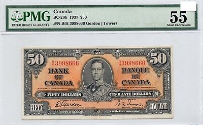 ➡➡ RARE BC-26b Canada 1937 King George $50 Note Gordon Towers AU55 AU 55 PMG