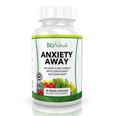 Anxiety Away Stress Relief Supplement Natural Herbal Blend 60 Veggie Capsules