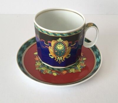 Rare Rosenthal VERSACE LE ROI SOLEIL Coffee Cup And Saucer Retired