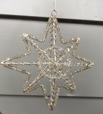 Vintage Hand Crafted Clear Beaded Star Christmas Ornament~Beautiful