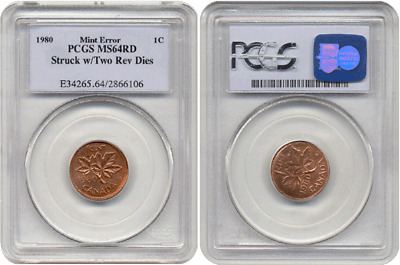 1980 Canada Cent Struck with Two Reverse Dies PCGS MS 64 Red 1 of 2 Known