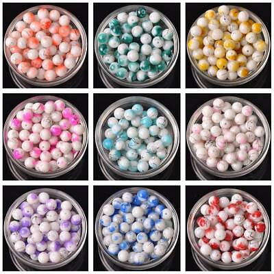 20pcs Coated Spots Round Crystal Glass Loose Spacer Beads DIY Jewelry 10mm 12mm