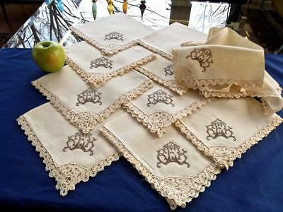 "12 Antique Homespun Linen 17"" Fancy Napkins Cantu Lace Gorgeous Brown Monogr REK"