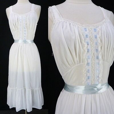 Vintage 60s Flair Lingerie Nightgown/Slip Size M Cotton Blend Lace Tie Back