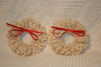 """Christmas Ornaments Cream Crocheted Wreaths with Red Bows - set of 2 -- 3-1/2"""""""