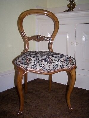 A Pair of Beautiful Victorian Balloon Back Chairs, Restored, Ideal for a Bedroom