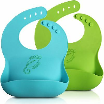 Weesprout Silcone Baby Bibs (2 Pack) Easy To Clean, Silky Soft & Comfortable