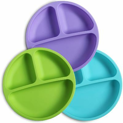Weesprout Silicone Divided Toddler Plates (3 Pack) Dishwasher & Microwave Safe