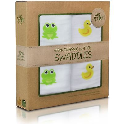 """Weesprout 100% Organic Cotton Muslin Swaddle Blankets (2 Pack) 47""""x47"""" Size"""