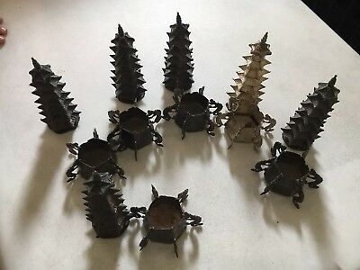 6 Sterling Silver Antique Chinese Export Pagoda Salt Cellar Pepper Shakers E.H.M