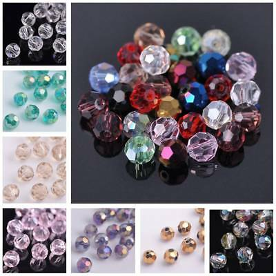 100pcs 6mm 32 Facets Round Faceted Cut Crystal Glass Loose Spacer Beads Lots