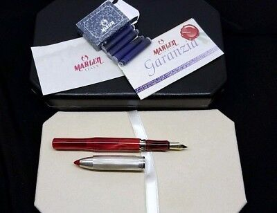 Marlen Shuttle Fountain Pen In Red Resin With Silver Cap & 18Kt Gold M Nib -New