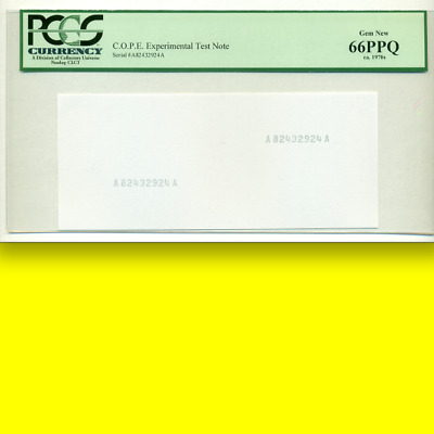PCGS 66 PPQ Experimental Test Note █ONLY GOVERNMENT-MADE CURRENCY PATTERN█ 1970