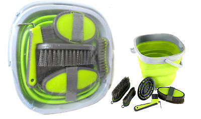 5 Piece Groooming Kit with Collapsible Buckle LIME GREEN Brush Hoofpick etc