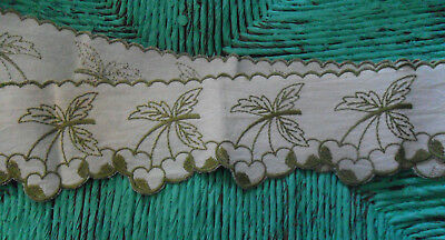 Vintage French Embroidered Linen Cuisine Kitchen SHELF TRIM Cherries Green Cream
