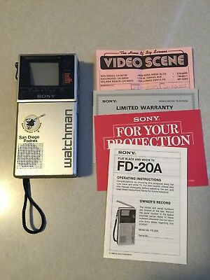 Vintage Sony San Diego Padres Watchman FD-20A, one owner, with receipt, works!