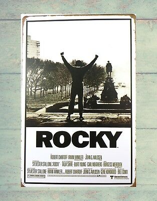 US SELLER-Rocky - Movie Score Arms Up tin sign metal wall poster cabin decor