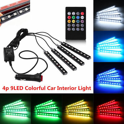 4pcs 9 LED RGB Car Charge Interior Floor Atmosphere Strip Light Remote Control R