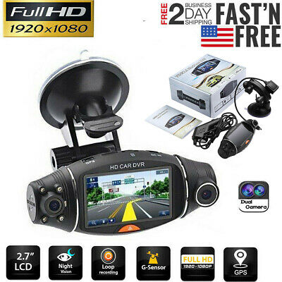 NEW Dual Lens LCD Car DVR Camera Full HD 1080P Dash Cam Video Recorder G-sensor