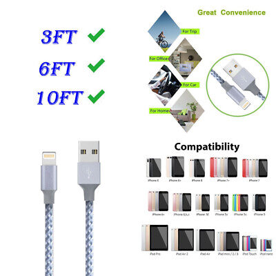 3/6/10FT USB Charge Cable Fast Charger Sync Cable Cord For Apple IPhone 7 Plus 8