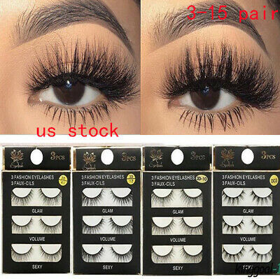 Handmade Eye Lashes Real Mink 3D Natural Cross False Eyelashes US Stock d6
