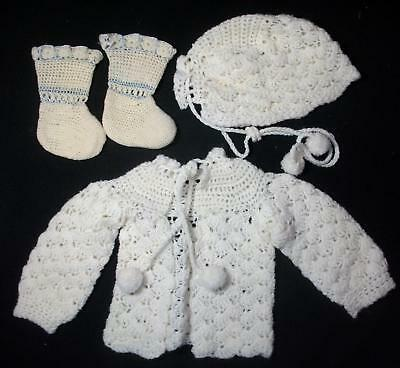 Vintage Yellow Knit Baby/ Doll Sweater Hat Booties Excellent Condition
