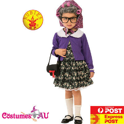 Child Grandma Little Old Lady Granny Girls Kids Costume 100 Days Party Book Week