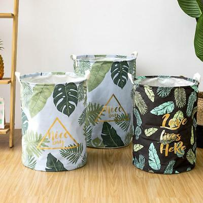 Laundry Bucket Kids Bedroom Storage Cotton Dirty Clothes Basket Leaf Pattern