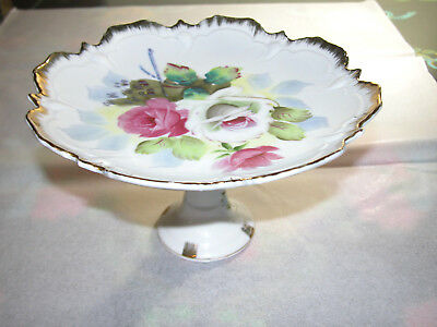 Vintage NAPCO Footed Candy Dish Serving Tray Hand Painted Roses Gold Tchotchke