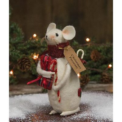 "farmhouse primitive country rustic Christmas Presents Mouse w candy cane 6"" doll"