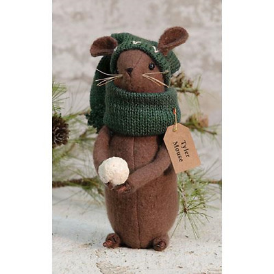 "farmhouse primitive country rustic Christmas Tyler Mouse w snowball 7"" doll"