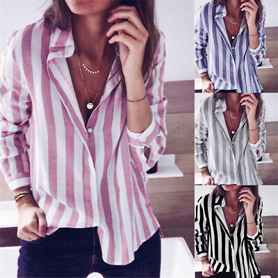 Womens Long Sleeve Striped Shirt Button Down Ladies Loose Blouse Tops T-shirt CA