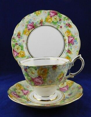 """Royal Albert Crown 3 Piece Place Setting. And Sandwich Plate """"rose Time Chintz"""""""