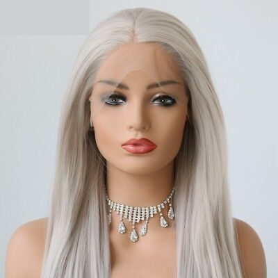 AU STOCK Straight Grey Synthetic Women's Lace Front Cosplay Wig Heat Resistant
