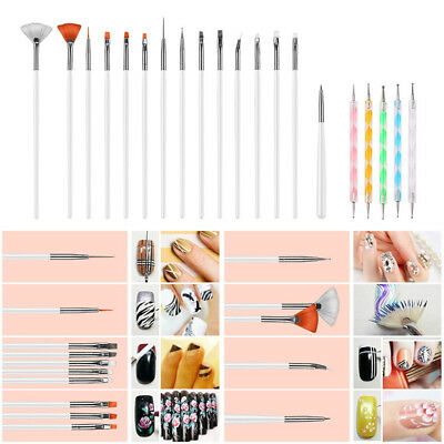 Set Nail Art Design Set Dotting Painting Drawing Polish Brush Pen Tools Silver