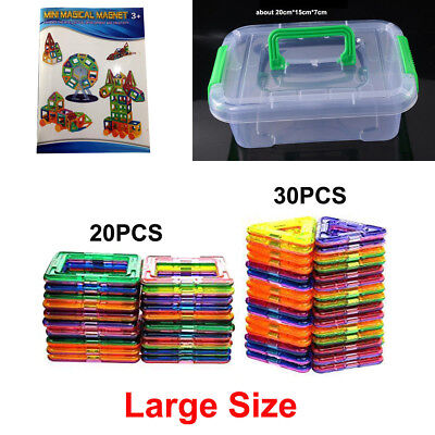 Magnetic Tiles Plates clear 3D Building Blocks sets,50 Playboards Box Manual