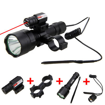 5000LM XM-L T6 LED White Light Flashlight Torch Light Lamp Red Laser Gun Mount