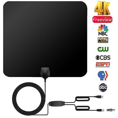 Antenna TV Digital HD 150 Miles Range Skywire TV Indoor 1080P 4K 10ft Coax Cable
