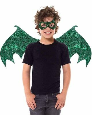 Green Dragon Mask And Wings Kids Set Size OS