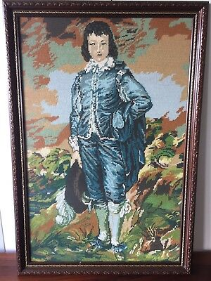 Framed Vintage Rare Embroidery/Tapestry - Portrait of Blue Boy, Gainsborough