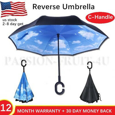 Anti Rain C-Handle Inverted Reverse Umbrella Double Layer Upside Down Travel Pcc