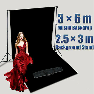 Heavy Duty Photography Photo Studio 3X6M MUSLIN Backdrop Stand Kit with Free Bag