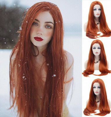 AU STOCK Fashion Heat Resistant Hair Red Wig Straight Synthetic Lace Front Wigs