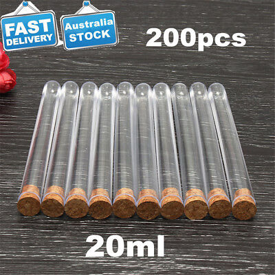 200X Plastic Test Tubes w/ Wood Cork Stopper Candy Party Wedding Reusable 20ml
