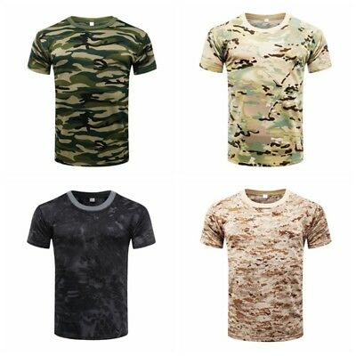 Mens Military T-Shirt Camouflage Army Combat Hunting Quick-dry Sports Shirt Tops